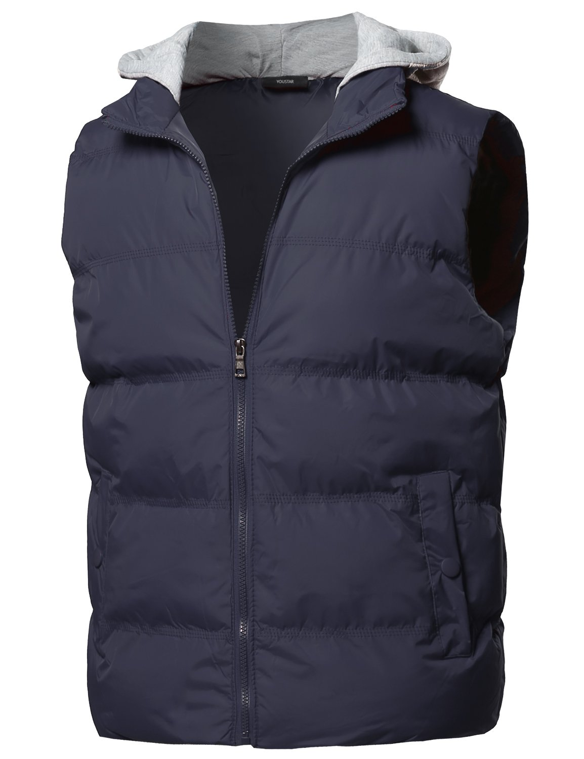 Solid Drawstring Hooded Outdoor Padded Vest Navy Size L