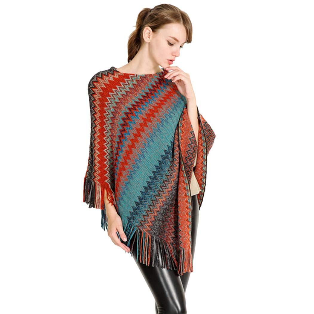 XioNiu Women Knitted Fashion Shawl Tassel Pullover Soft Shawl Cloak Cold Weather Scarves & Wraps