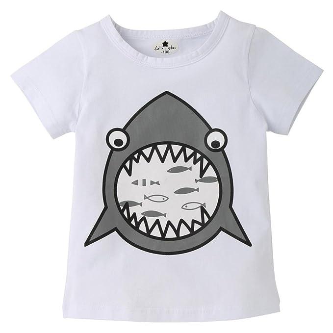 c16c0616f 🍀 2018 Moda Ropa de Niño Verano Ropa Bebe Niño Tiburón de Dibujos