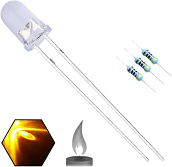 EDGELEC 100pcs 5mm Yellow Flicker Flickering LED Diodes Candle Flicking Lights Clear Round Top 29mm Long Feet DC 2V Light Emitting Diode Lamp Bulb +100pcs Resistors (470ohm for DC 6-12V) Included