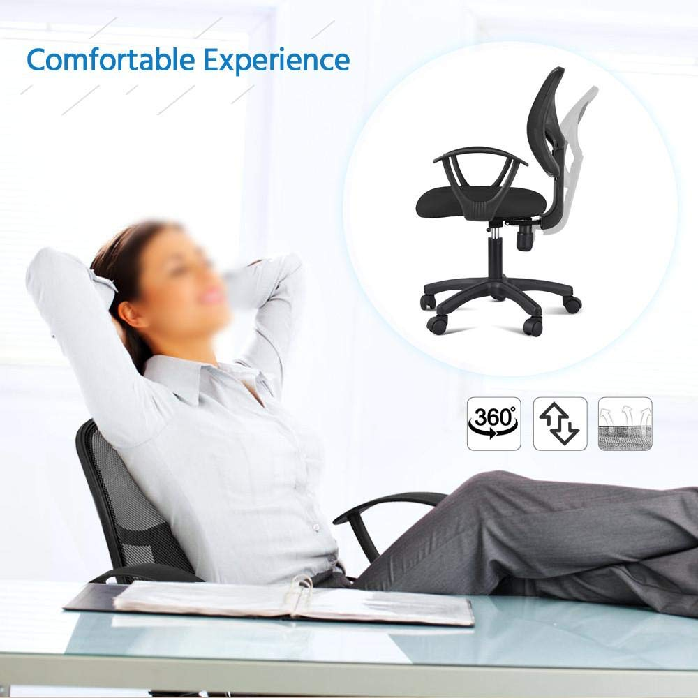 Yaheetech Desk Chiar Office Chair Ergonomic Mid-Back Mesh Computer Chair Height Adjustable with Armrest Swivel Office Chair Lumbar Support Swivel Chair (Black) by Yaheetech (Image #2)