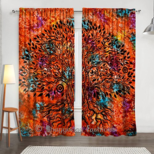 Exclusive Indian Mandala Tie Dye Tree Of Life Tapestry Large Wall Hanging Hippie Window Curtain Valances Room Divider 2 Pcs, Voile Curtains, Window Tr…