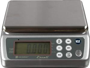 San Jamar SCDG33WD Digital Waterproof Food/Kitchen Scale with Memory Recall, 33 lb Capacity, Stainless Steel