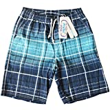 Prefer To Life Board Shorts Mens Swimwear,Blue Color Grid Beach Shorts,Breathable Quite Dry, Water Repellent Trunk Cargo(3XL Size,Blue Color)