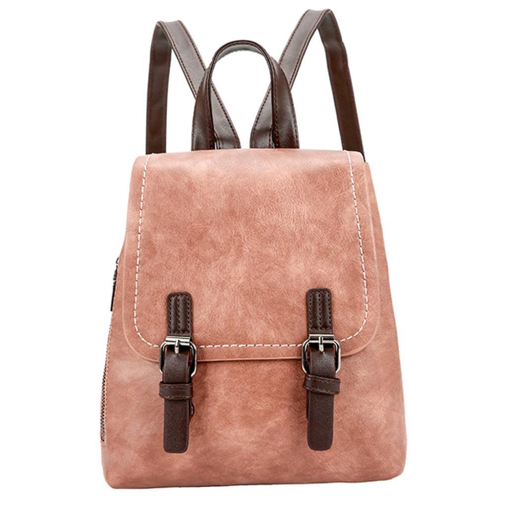 Anxinke Women Girls Retro PU Leather Packsack Casual Backpack Bag (Brown)