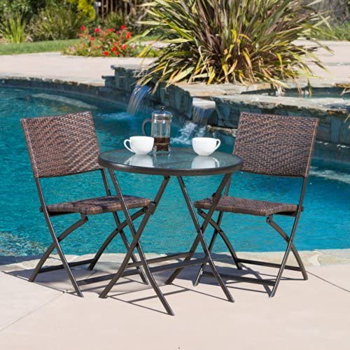 Christopher Knight Home 229663 Cantinela 3pc Outdoor Folding Bistro Set, Brown