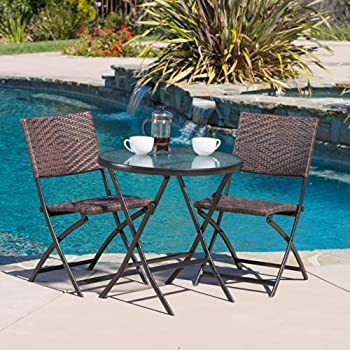 amazon com cantinela 3pc outdoor folding bistro set garden outdoor