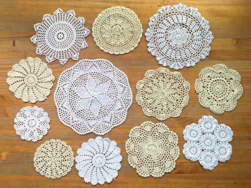 DOUKING 12Pcs Hand Crochet Lace Doilies Handmade Round Cotton Lace Table Placemats Coasters, Varied Sizes, 6-13 Inches, White and Beige (12 Pcs)