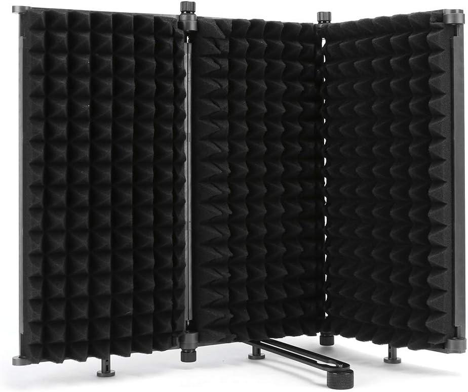 Pantalla de aislamiento de micrófono, parabrisas profesional plegable de tres puertas Micrófono parabrisas Pantalla insonorizada, algodón absorbente de sonido de alta densidad para estudio