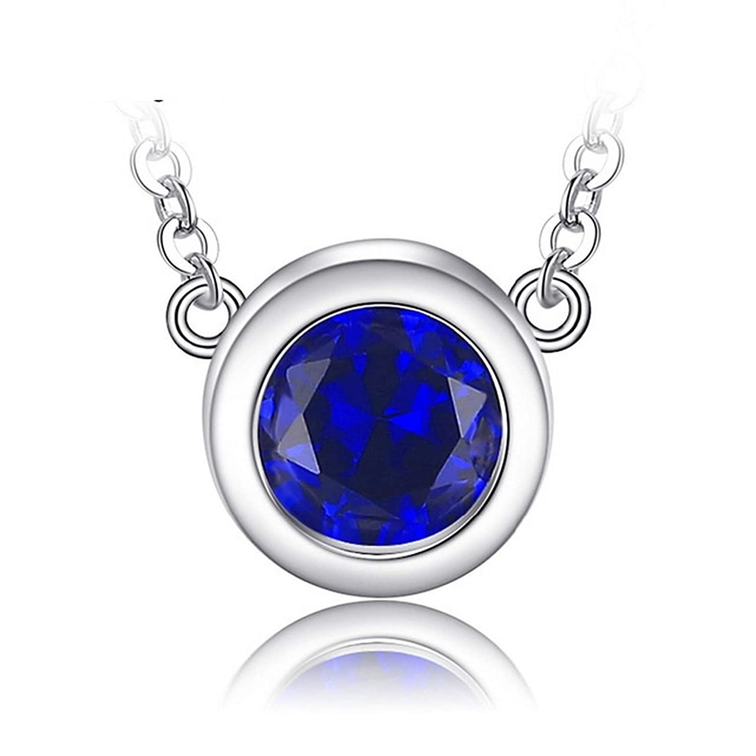 CS-DB Silver Classic Round 1.82ct Sapphire Charms Pendants Necklaces For Womens