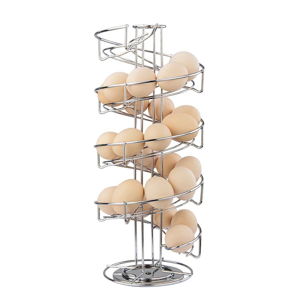 Toplife Spiral Design Stainless Steel Egg Skelter Dispenser Rack,Storage Display Rack,Silver