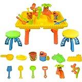 boppi® Mesa de juego de Arena y Agua con 12 Accesorios y 2 Taburetes