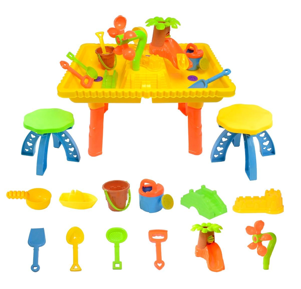 boppi Castle Childrens Sand and Water Table with 12 Play Accessories & 2 Stools
