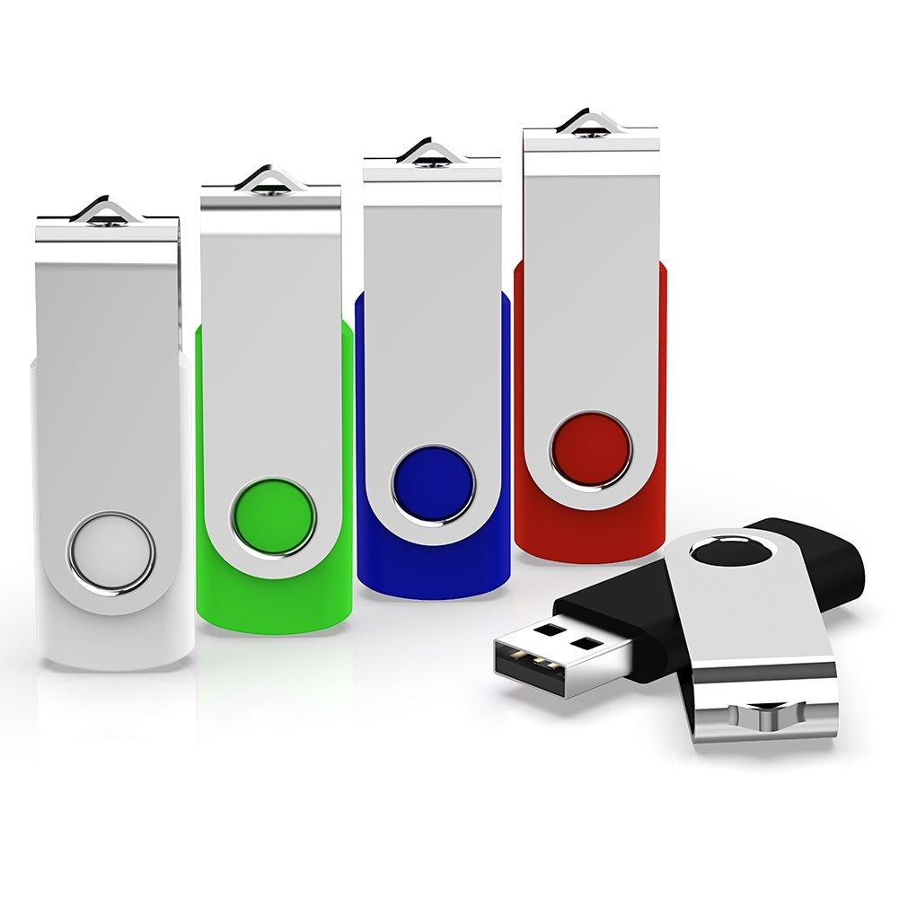 KEXIN 5 Pack 16GB USB 2.0 Flash Drive Bulk Thumb Drive Memory Stick Jump Drive Zip Drive, 5 Colors (Black, Blue, Green, White, Red)