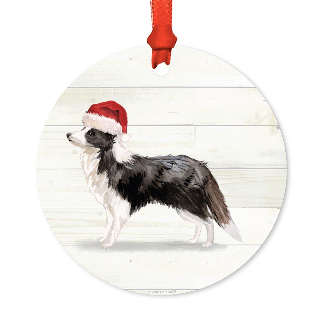 Tan Dachshund with Santa Hat Andaz Press Animal Pet Dog Metal Christmas Ornament 1-Pack Includes Ribbon and Gift Bag