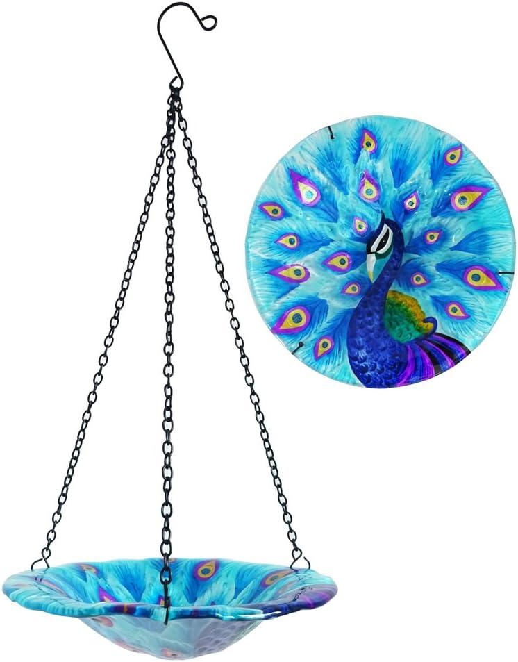 "Comfy Hour 8"" Glass Tray Metal Art Peacock Plate Hanging Bowl Bird Feeder Birdbath, Total Height 17"" Including Chain"