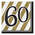 Creative Converting 317542 16 Count Paper Lunch Napkins, 60, Black and Gold