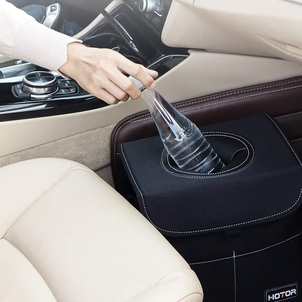 HOTOR Car Trash Can with Lid and Storage Pockets 100/% Leak-Proof Car Organizer Black Waterproof Car Garbage Can Multipurpose Trash Bin for Car