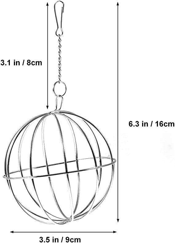 LNIEGE 8cm Sphere Rabbit Feed Dispenser Hanging Ball Toy for Pets Treat Guinea Pig Hamster Rat