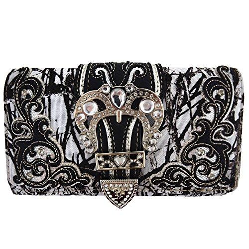 Camouflage Buckle Western Style Country Purse Single Shoulder Bags Clutch Women Blocking Wristlet Wallet (Black) ()
