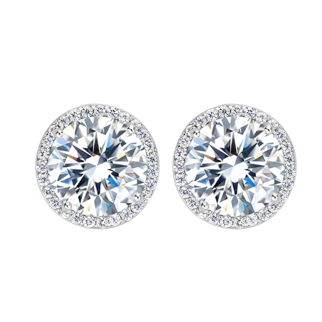 EleQueen 925 Sterling Silver 3.6 Carats Cubic Zirconia Round Halo Bridal Stud Earrings 13mm 16001090ca
