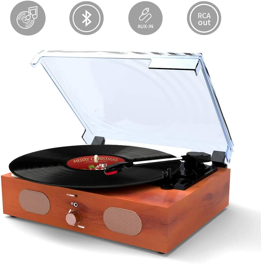 Record Player Turntable 3-Speed Bluetooth Vinyl Record Player with Stereo Speaker Belt Driven Vintage Style Vinyl Record Player