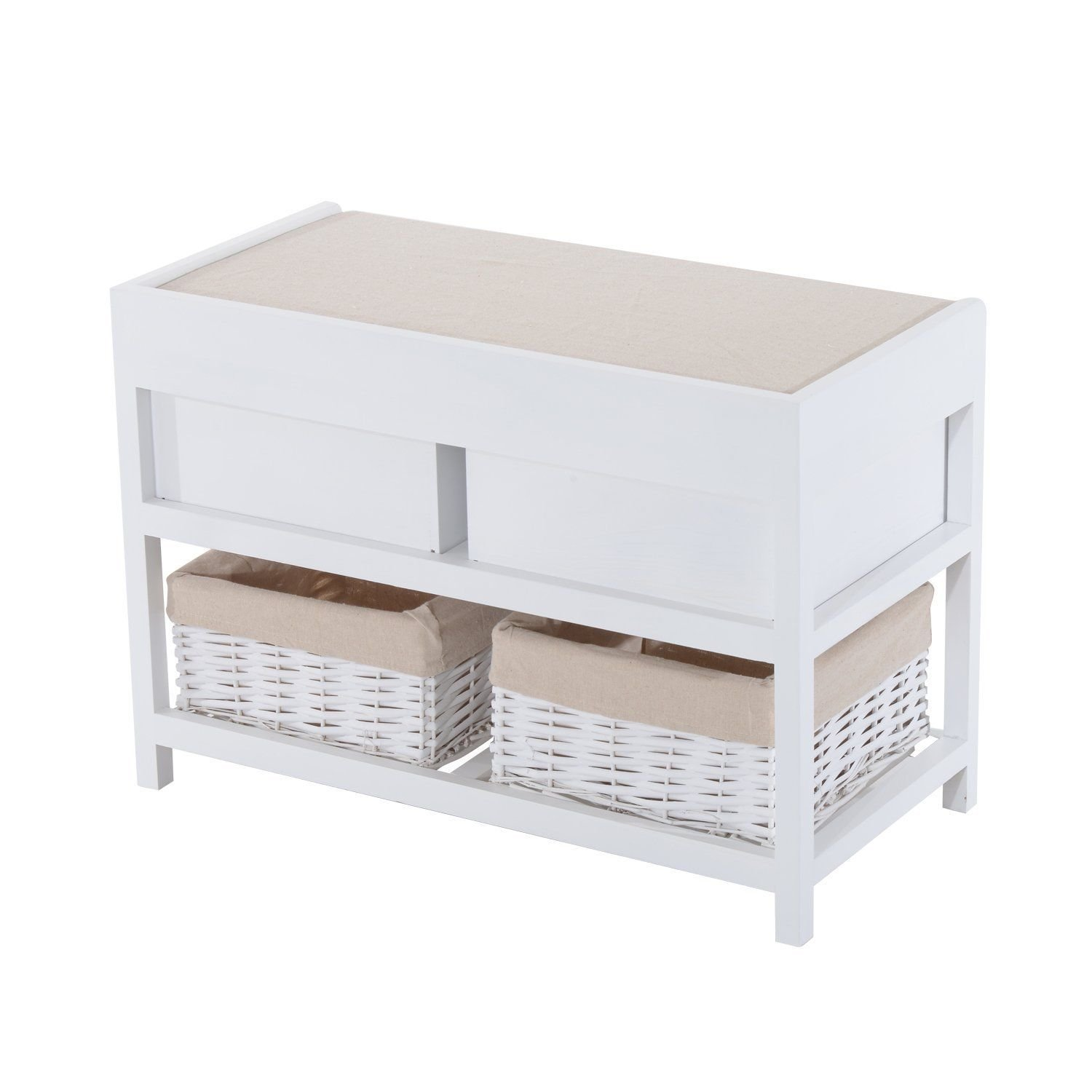 HOMCOM Wooden Unit Storage Bench Wood Seat Seater Woven Wicker Baskets Drawers Hallway Porch White w/ Cushion & Removable Linings (2 drawers & 2 baskets) Sold by MHSTAR 833-075WT