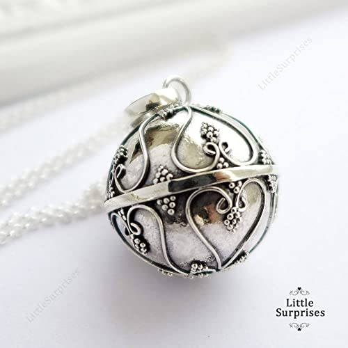 Amazon 20mm angel caller chime bell hearts pendant sterling 20mm angel caller chime bell hearts pendant sterling silver harmony ball 30quot necklace ls78 aloadofball Image collections