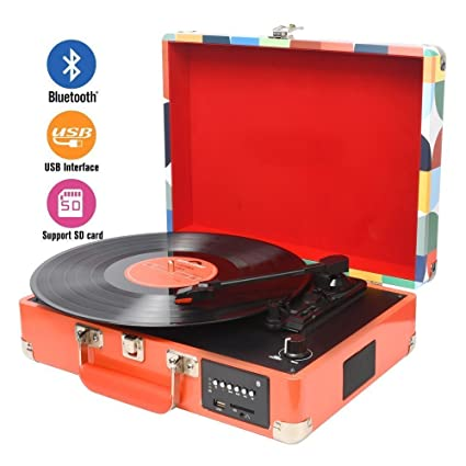 3-Speed Bluetooth Multi-Color LED Record Player Turntable Vinly to MP3 Recording