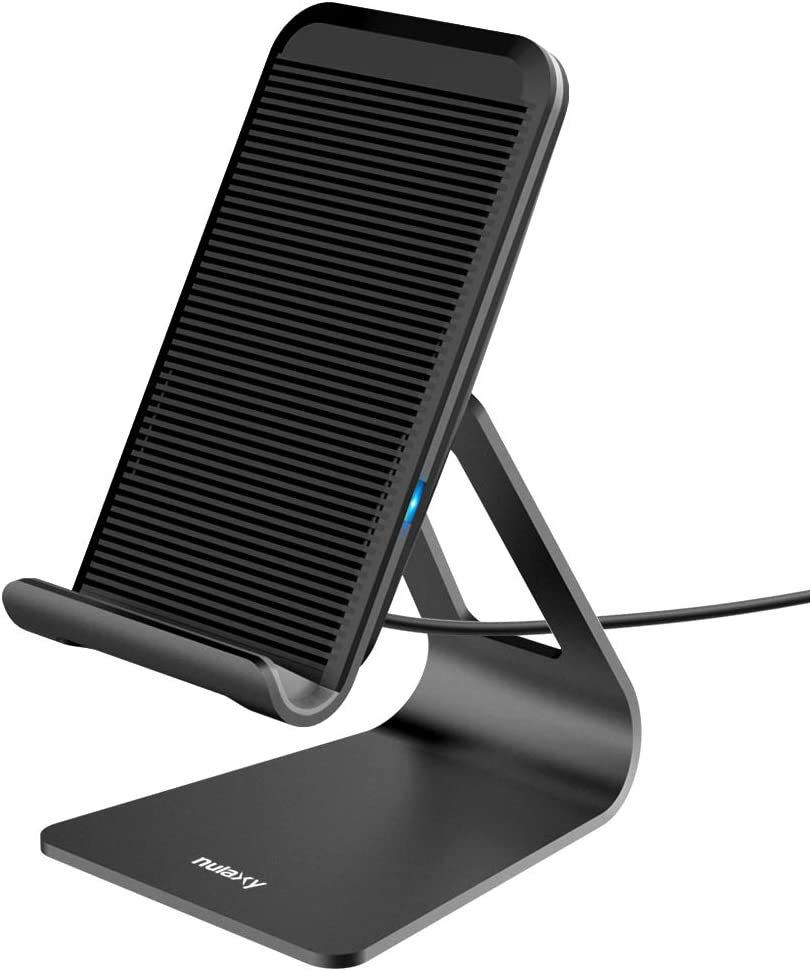 Nulaxy Wireless Charger, Adjustable Aluminum Wireless Charging Stand, 7.5W for iPhone 11 Pro/Xs Max/XS/XR/X/8, 10W Charges Galaxy S9/S9+/Note 9/Note8, 5W Charges All Qi-Enabled Phones (No AC Adapter)