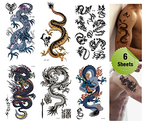 Toned Down Halloween Costumes (Supperb® Mix Dragons Temporary Tattoo / 6-pack (Classic Set))