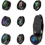 【Neue Version】ORIA 9 in 1 Clip-On Handy Objektiv Kit, 0.63X Weitwinkel +0.36X Super Weitwinkel+ 15X & 20X Makro Objektiv + 2X Teleobjektiv +198°Fisheyeobjektiv +Kaleidoskop +Starburst+ CPL Lens