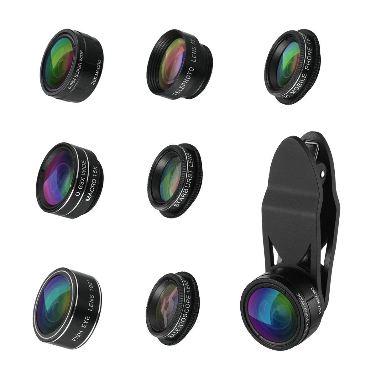 iPhone Camera Lens, ORIA 9 in 1 Phone Lens Kit, 0.36X Super Wide Lens + 20X Macro Lens, 0.63X Wide Lens + 15X Macro Lens, 2X Telephoto Lens, 198°Fisheye Lens + CPL + Kaleidoscope Lens + Starburst Lens