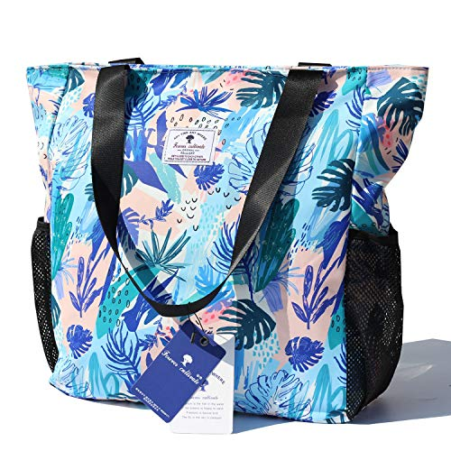Original Floral Water Resistant Large Tote Bag Shoulder Bag for Gym Beach Travel Daily Bags Upgraded (Floral Beach Bag)
