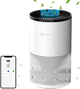 Proscenic A8 Smart WiFi Air Purifier for Home with H13 True HEPA Filter, APP&Alexa&Google Voice Control, Air Cleaner for Smokers Allergies Pets Hairs Odor Eliminators, 4 Stages Filtration