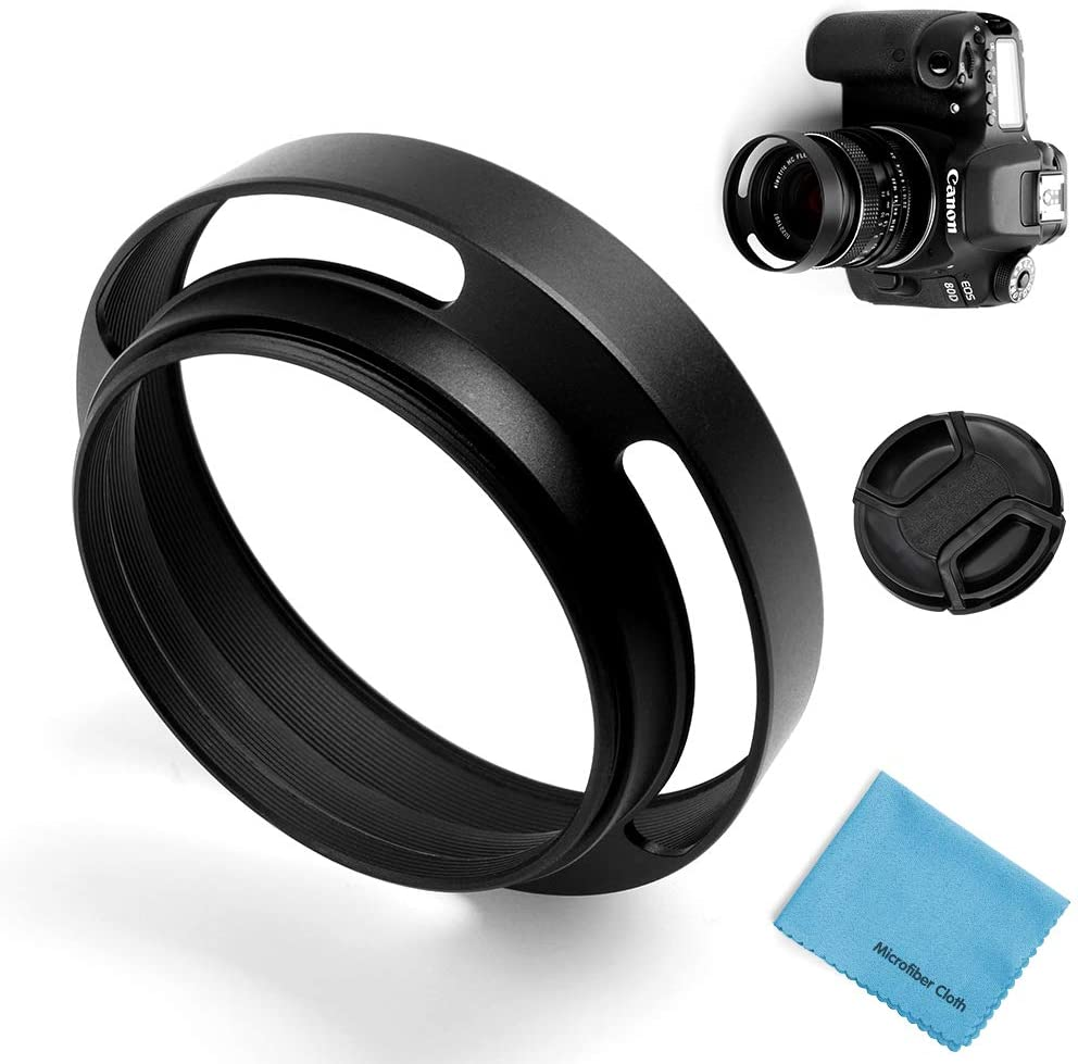 67mm Tele Metal Screw-in Lens Hood Sunshade with Centre Pinch Lens Cap for Canon Nikon Sony Pentax Olympus Fuji Sumsung Leica Camera Cleaning Cloth