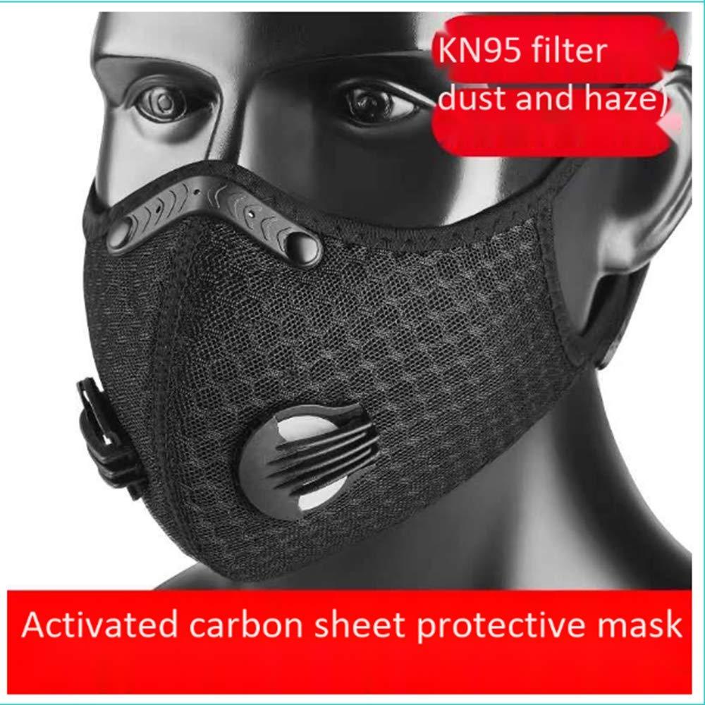 Máscara de polvo/máscara protectora de carbón activado, máscara de polvo ajustable con filtro KN95 | Previene virus, alergias, infecciones en el aire (1 máscara negr
