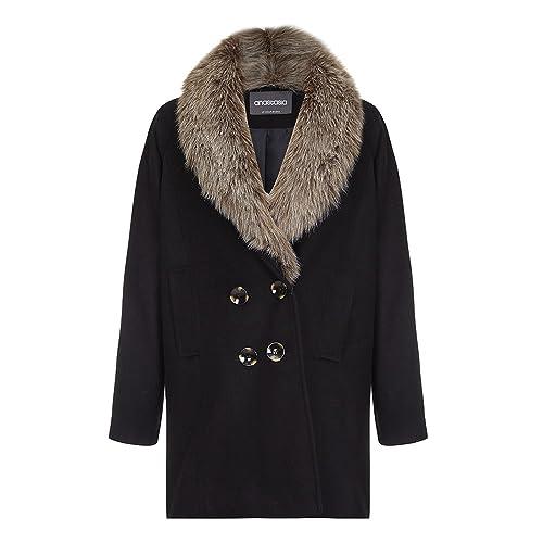Anastasia - Abrigo de Invierno con Cuello de Pelo en Color Negro para Mujer
