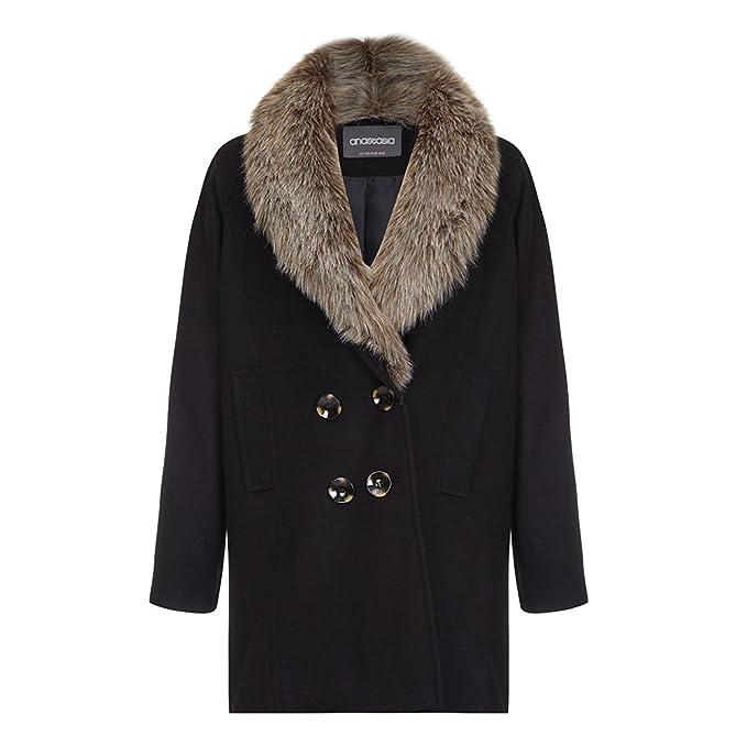 Anastasia - Abrigo de Invierno con Cuello de Pelo en Color Negro para Mujer: Amazon.es: Ropa y accesorios