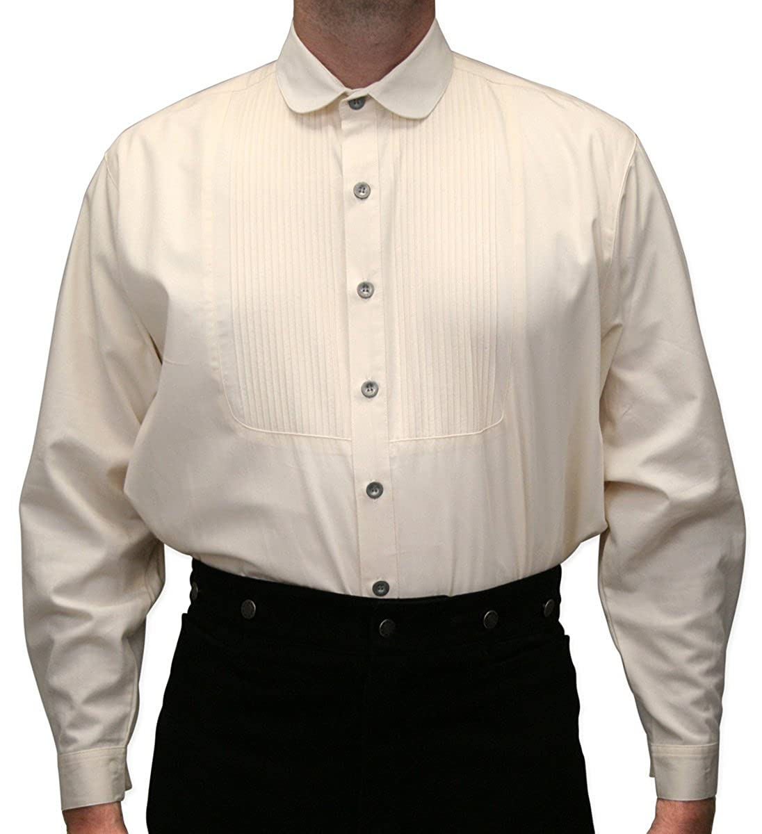 Victorian Men's Shirts- Wingtip, Gambler, Bib, Collarless Historical Emporium Mens Pleated Edwardian Round Club Collar Dress Shirt $59.95 AT vintagedancer.com