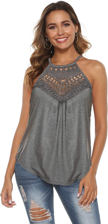 Bluetime Womens Summer Halter Spaghetti Strap Lace Flowy Tank Tops Cami Shirts