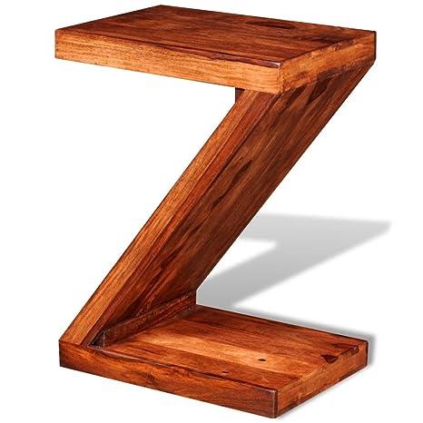 vidaXL Mesita auxiliar mesa forma de Z Shabby chic madera Sheesham salón escritorio