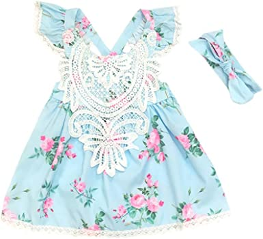 Kid Baby Girls Sleeveless Backless Princess Dress Strap Floral Lace Bow Headband