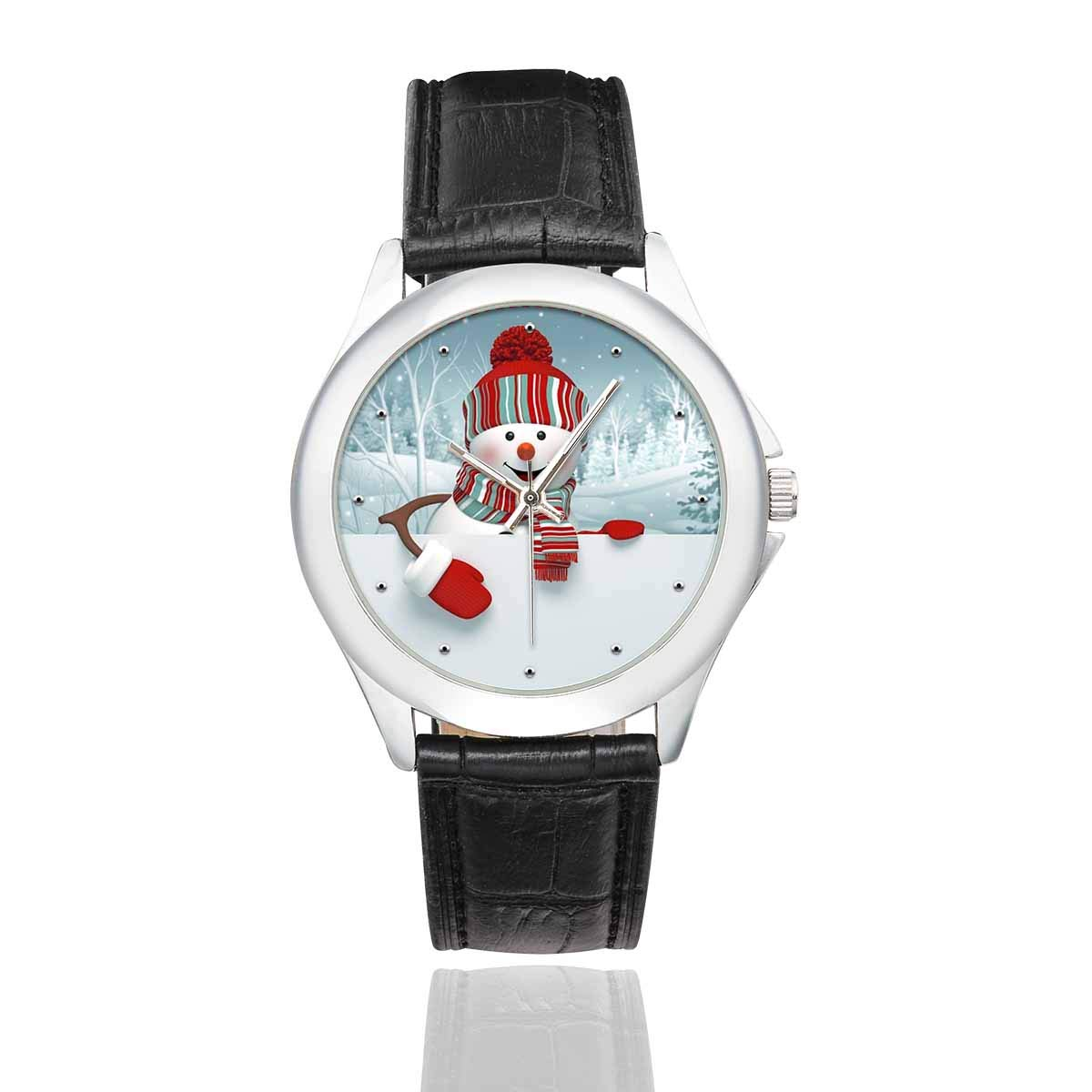 InterestPrint Easter Halloween Thanksgiving Christmas Waterproof Women s Stainless Steel Classic Leather Strap Watches, Black