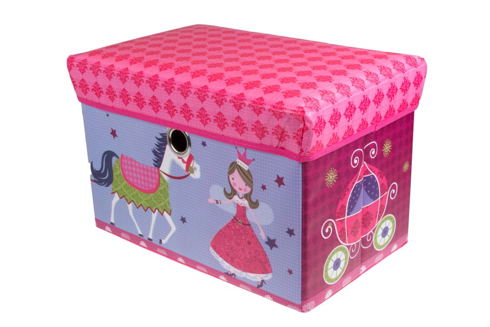 Fairytale Princess Castle Collapsible Storage Organizer by Clever Creations | Storage Ottoman for Bedroom and Living Room| Perfect Size Chest for Books, Clothes, Electronics, and Gadgets