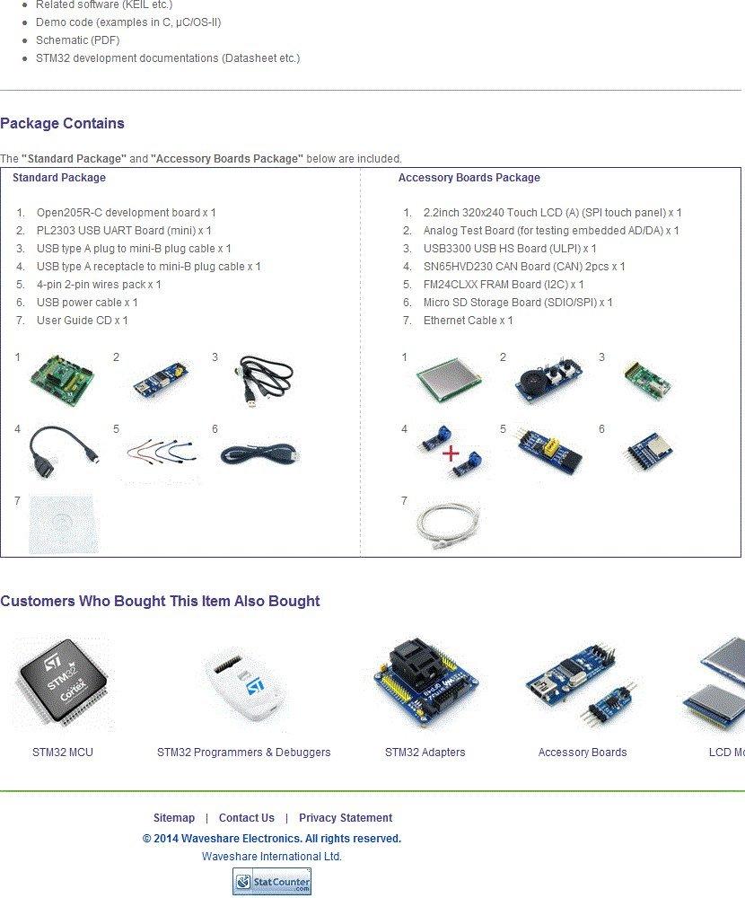 Waveshare STM32 Board STM32F205RBT6 STM32F205 Cortex-M3 ARM STM32  Development Board + 6 Modules Kits