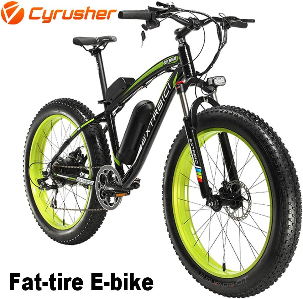 Cyrusher® Extrbici XF660 Verde Negro 48V 500 vatios Bicicleta ...