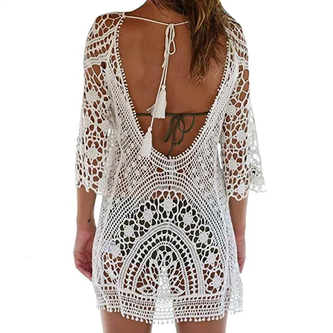 afedeef8c9452 Bestyou® Women's Floral Lace Crochet Cover up Tunic Beachwear Tops Shirts  XS-M (