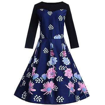 80a1fd23c5faa LuckyGirls Vestido de Gala para Mujer Vestido de Noche Fiesta Partido Cóctel  Vintage Estilo Hepburn Estampado de Floral y Lunares Manga Larga Faldas  ...