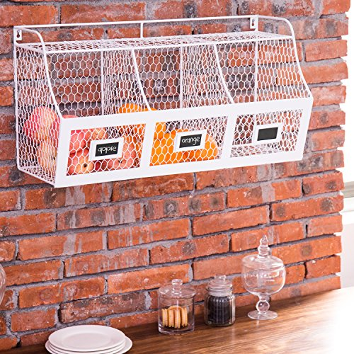 Large White Metal Wire Wall Mounted Hanging Fruit Basket Storage Bin w/ Chalkboard Label
